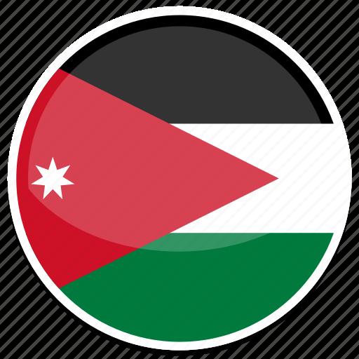 circle, flag, flags, jordan, round icon