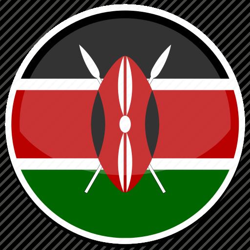 circle, flag, flags, kenya, round icon