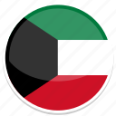 circle, flag, flags, kuwait, round icon