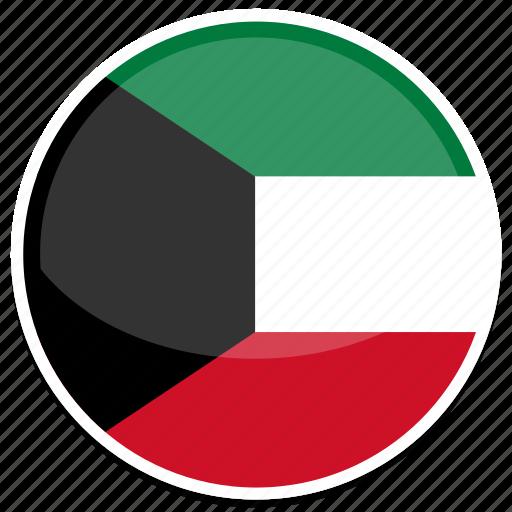 circle, flag, flags, kuwait, round icon