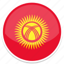 circle, flag, flags, kyrgyzstan, round icon