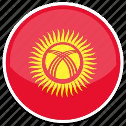 circle, flag, flags, kyrgyzstan, round icon
