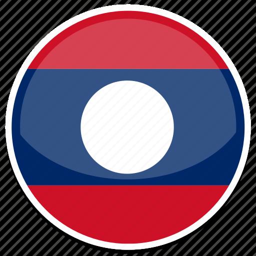 circle, flag, flags, laos, round icon