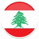 flags, lebanon, round icon