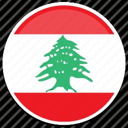 flags, lebanon, round icon