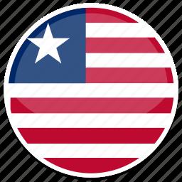 circle, flag, flags, liberia, round icon
