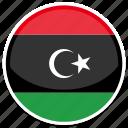 circle, flag, libya, round icon