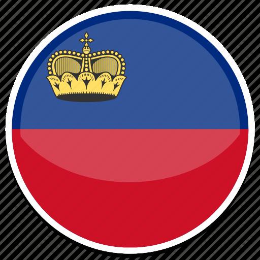 circle, flag, flags, liechtenstein, round icon