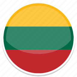 flag, flags, lithuania, round icon