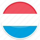 luxembourg, flag, flags, round icon