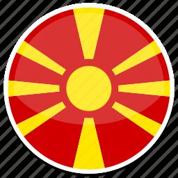 circle, flag, flags, macedonia, round icon