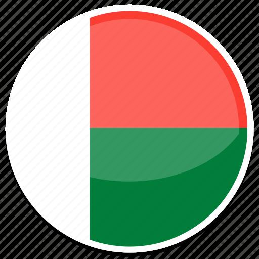 circle, flag, flags, madagascar, round icon