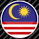 circle, flag, malaysia, round icon