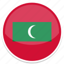 circle, flag, flags, maldives, round icon