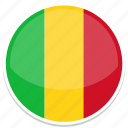 circle, flag, flags, mali, round icon