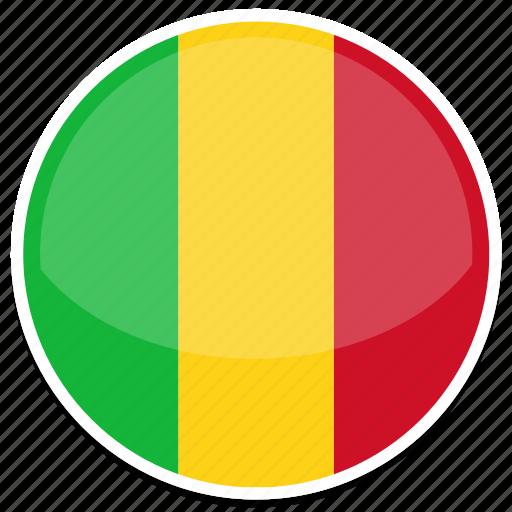 circle, flag, flags, mali, round icon