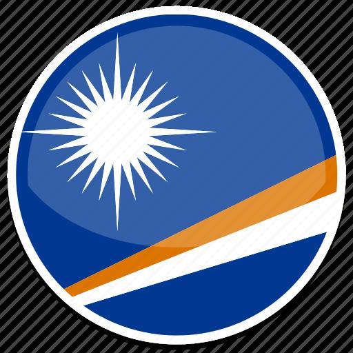 circle, flag, islands, marshall, round icon