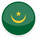 circle, flag, mauritania, round icon