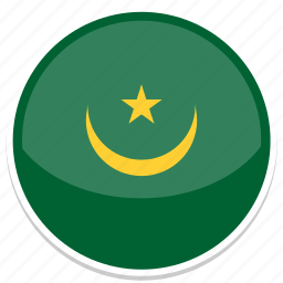 circle, flag, mauritania, round icon