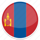 flag, flags, mongolia, round icon