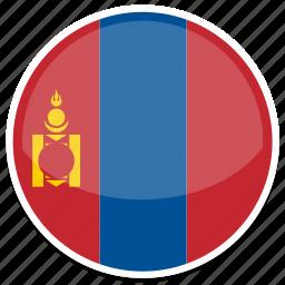 flag, flags, mongolia, round icon