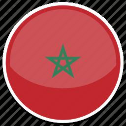 circle, flag, flags, morocco, round icon