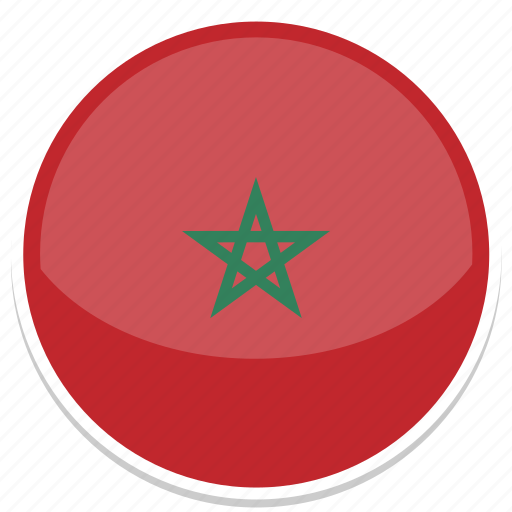 circle, flag, flags, morocco, round icon