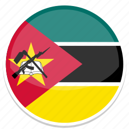 circle, flag, flags, mozambique, round icon