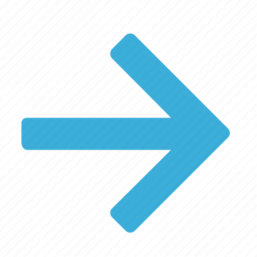 arrow, blue, direction, gps, navigation, pointer, right icon