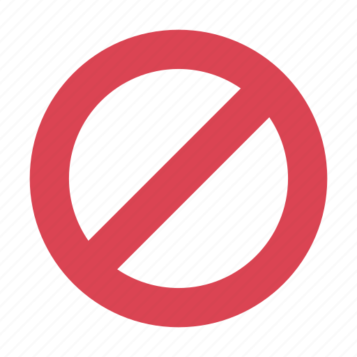 circle, crossed, forbidden, no, prohibited, red, stop icon