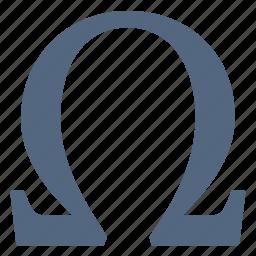 alphabet, greek, letter, omega, sign, symbols icon