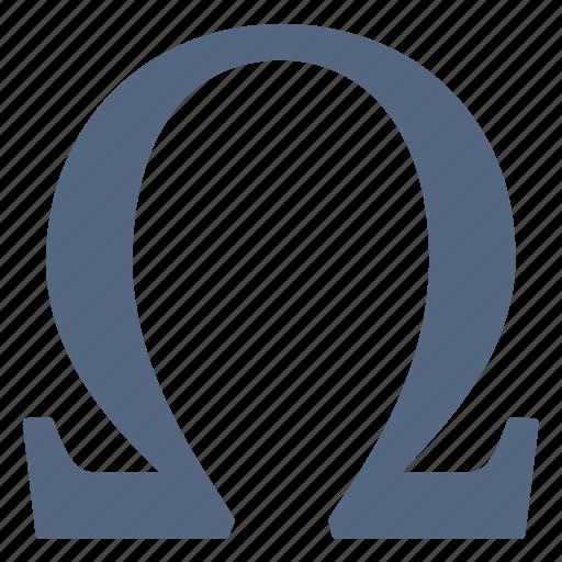 Alphabet greek letter omega sign symbols icon
