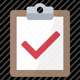 accomplished, check, checklist, clipboard, success, task, tick icon