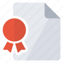 certificate, document, file, object icon