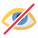 eye, hide, imaging, invisible, no, not visible icon