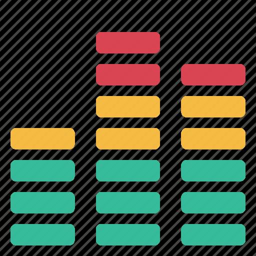 audio, colors, instrument, levels, sound, speaker, volume icon