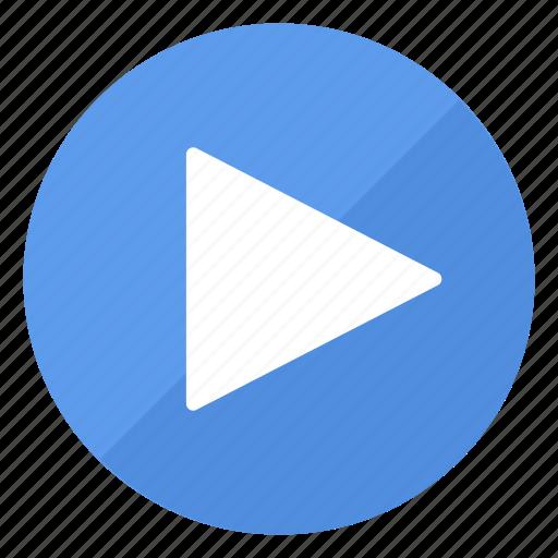 blue, btn, play icon