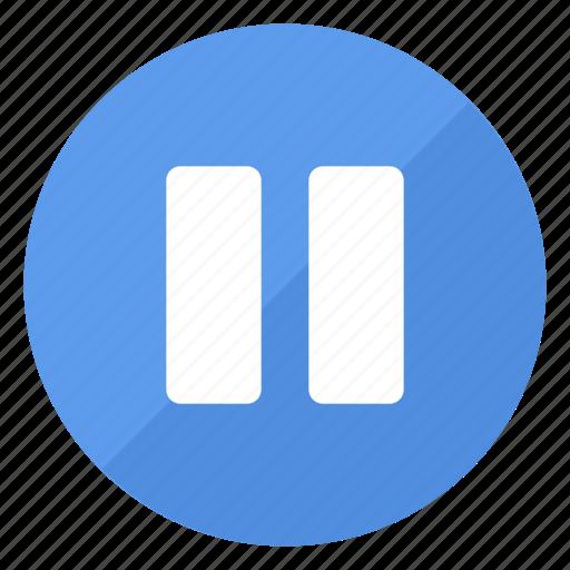 blue, btn, pause, play icon