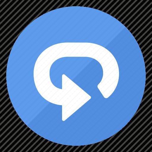 blue, btn, repeat icon