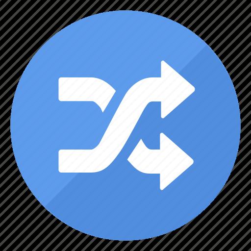 blue, btn, shuffle icon