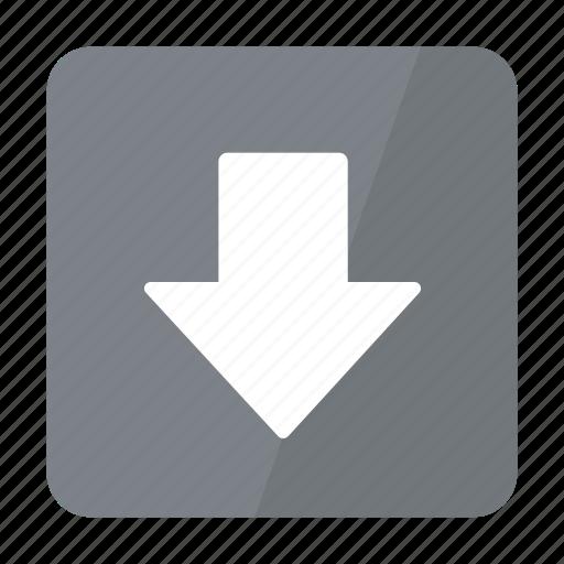 arrow, btn, down, grey icon