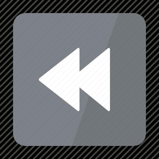 Play, backward, btn, grey icon