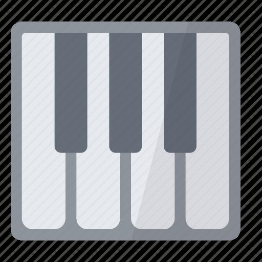 midi, notes, piano, touches, white icon