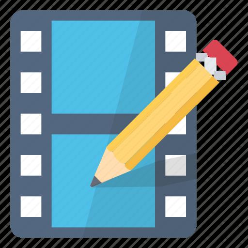 edit, modify, movie, write icon