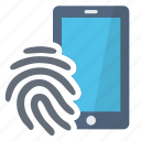 access, fingerprint, phone, security icon