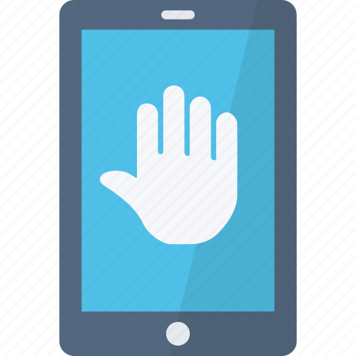 application, hand, phone, security, stop icon