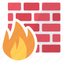 firewall, flame, security, software icon
