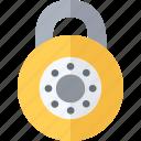 combination, padlock, security, yellow icon