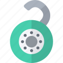 combination, green, open, padlock, security icon