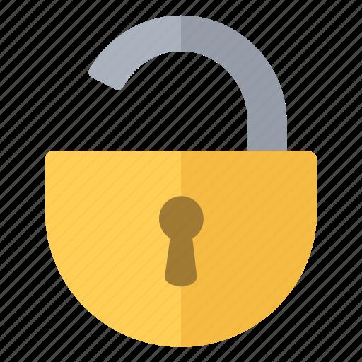 open, padlock, round, security icon